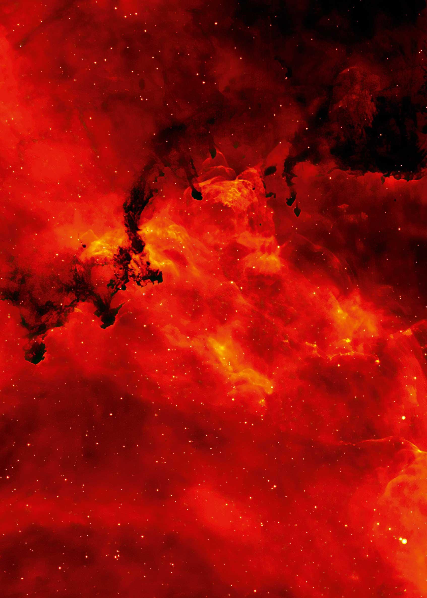 S. 118 © Nick Wright (University College London), IPHAS Collaboration; service of EUD at NASA/ GSFC Ein Ausschnitt des leuchtenden Rosetta-Nebels im Abstand von 5200 Lichtjahren mit kleineren Staubglobulen im Vordergrund, die ca. ein halbes Lichtjahr groß sind. Neu entstandene Sterne lassen diesen Staubnebel – wie den Himmel bei Sonnenaufgang – rot erleuchten