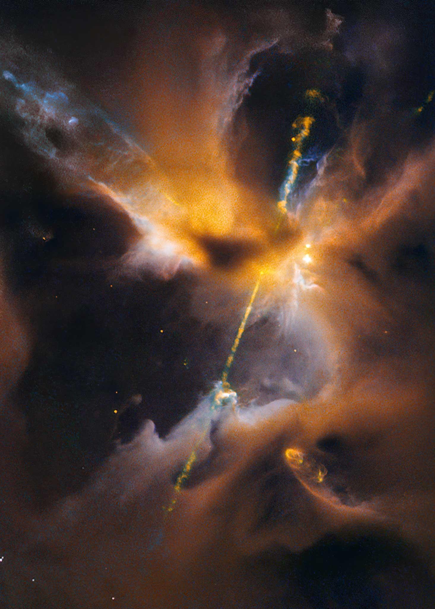 """S. 128 © NASA and ESA; Acknowledgment: NASA, ESA, the Hubble Heritage (STScI/AURA)/Hubble-Europe (ESA) Collaboration, D. Padgett (GSFC), T. Megeath (University of Toledo), and B. Reipurth (University of Hawaii) Pünktlich zum Kinostart des Films """"Star Wars: Episode VII – Das Erwachen der Macht"""" hat das Hubble-Weltraumteleskop einen Jet fotografiert, der wie ein kosmisches zweischneidiges Lichtschwert aussieht und am inneren Rand einer Staubscheibe um einen jungen Stern entsteht. Es ist das Herbig-Haro-Objekt HH 24 und liegt 1350 Lichtjahre von uns entfernt"""