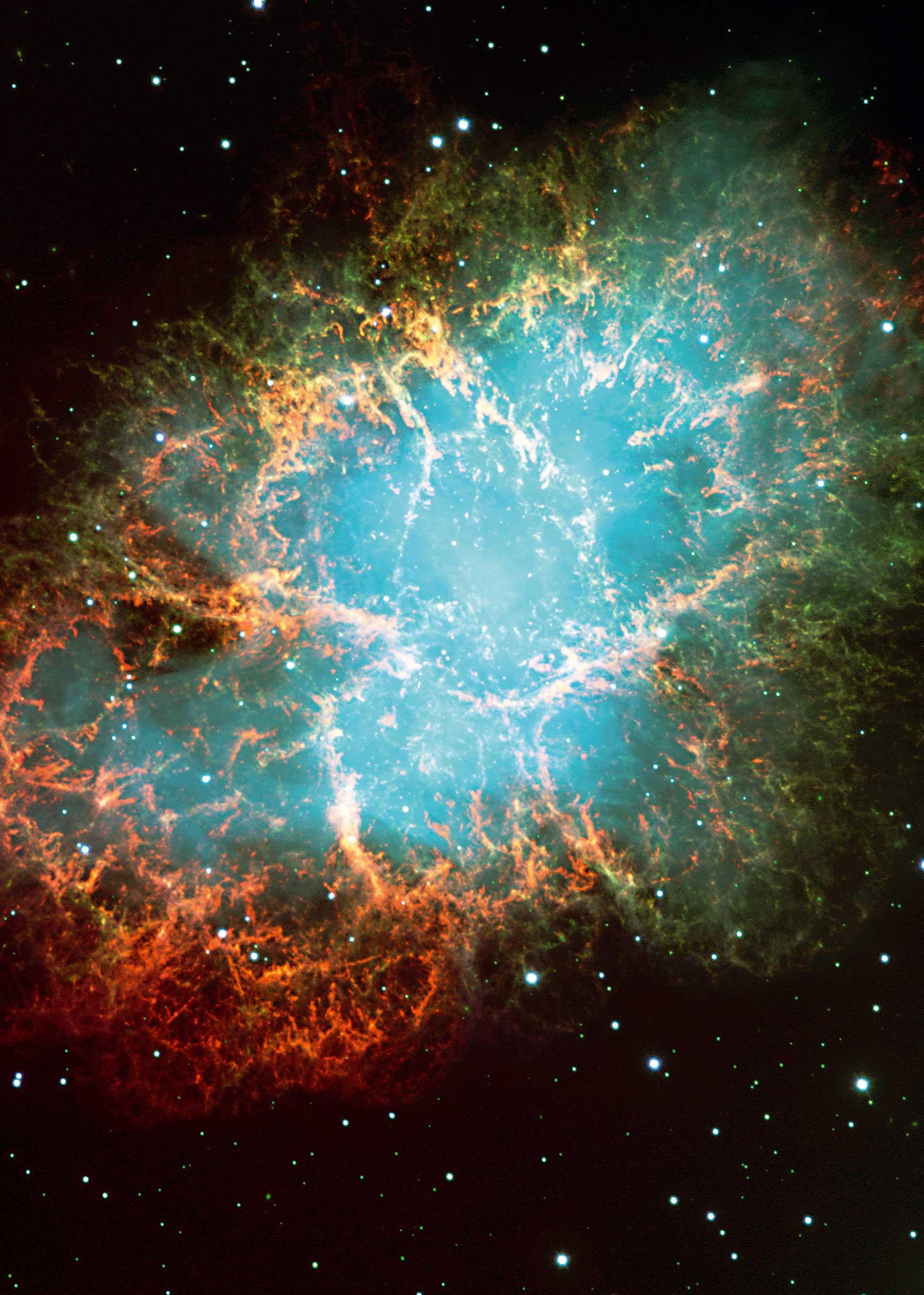 """S. 150 © ESO Dreifarbenkomposit-Aufnahme des bekannten Krebsnebels im Sternbild Taurus (der Stier), der auch die Bezeichnung """"Messier 1"""" trägt"""